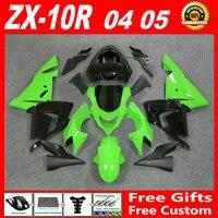Бесплатно настроить для 04 05 Kawasaki ZX10R обтекатели zx10r 2004 2005 установить обтекатель zx10r части светло зеленый глянцевый плоский черный TGV83