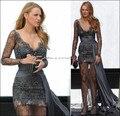 2016 Lace Beaded Celebrity Dress 2016 Hot Sale Gossip Girl Fashion Blake Lively Fashion Grey Long Sleeves V Neck Watteau Train