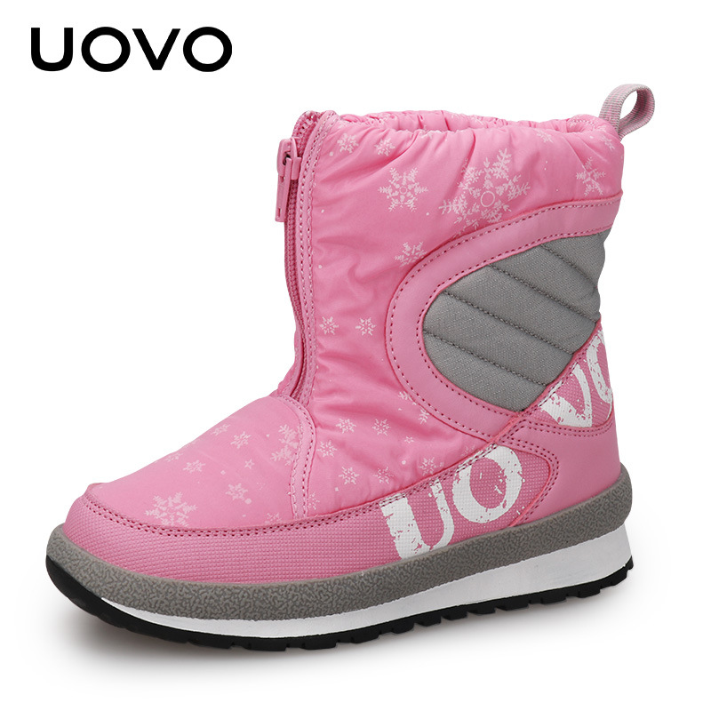 UOVO Kids Snow Boots Cotton Velvet Fur Boots Boy Girls Boots for Winter Fur Lined Waterproof Cloth Princess Pink Boots 30-38 fall and winter girls boots knitted wool boots elastic cotton cloth boots