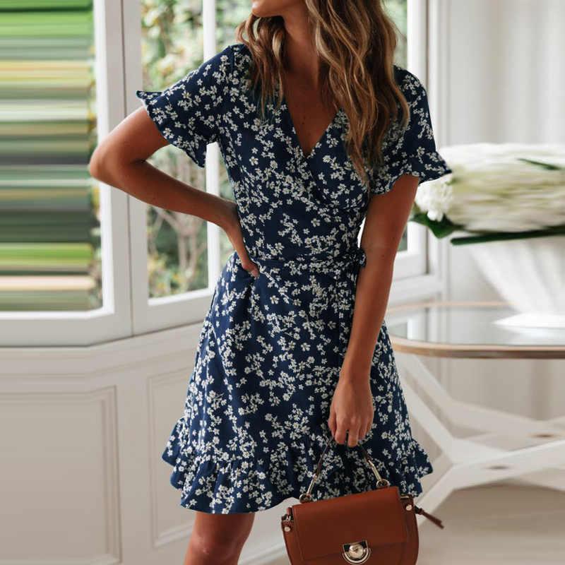 Aachoae vestidos femininos verão 2020 sexy com decote em v floral impressão boho vestido de praia plissado manga curta a linha mini vestido de verão robe