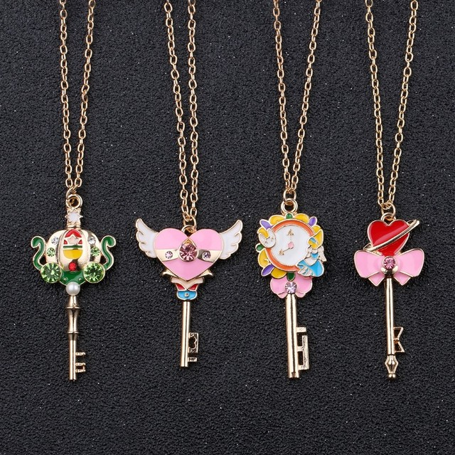 Classic Anime Sailor Moon Necklace Accessories Cosplay Fashion Jewelry Choker Necklace Key Pendant Necklaces For Women Girl Gift