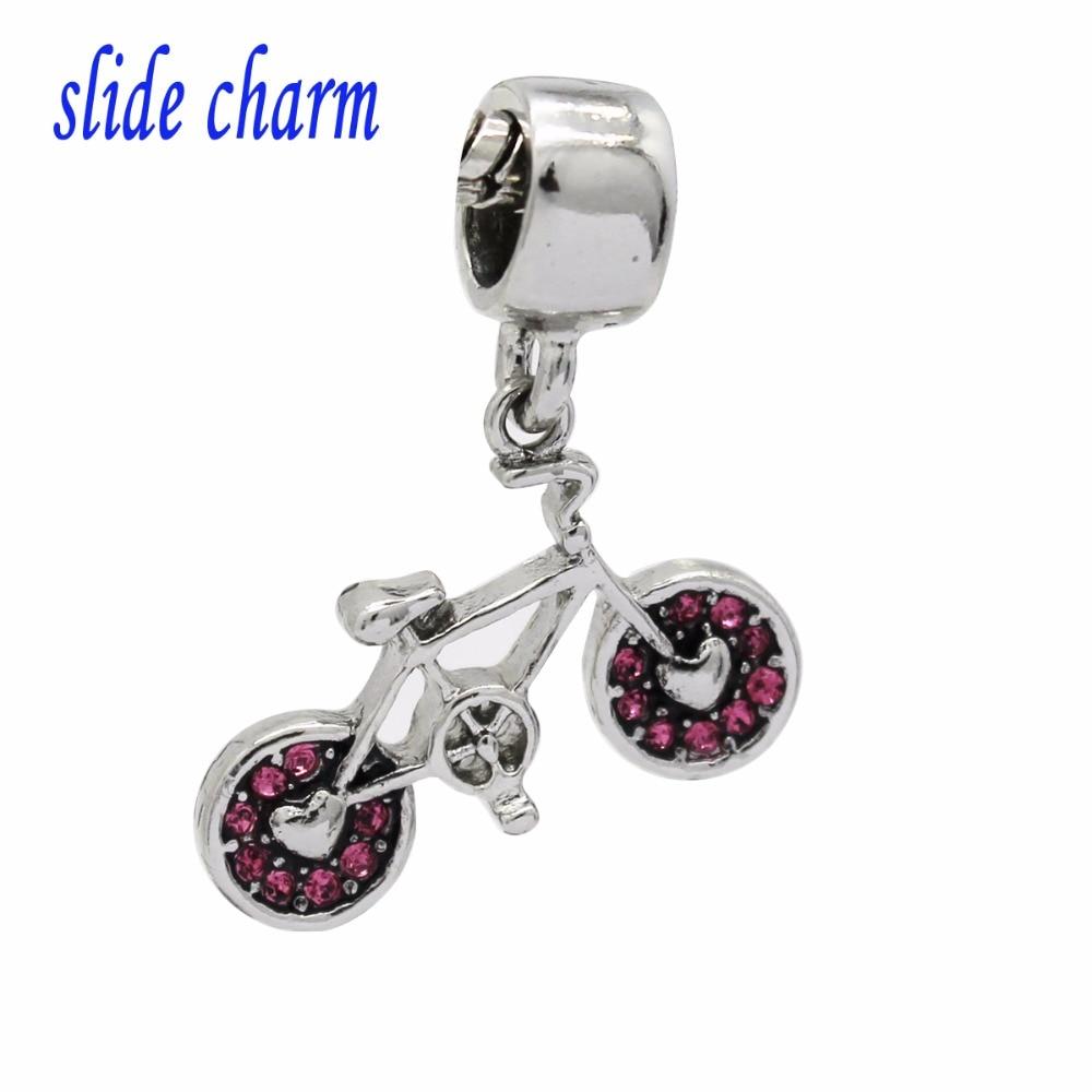 Envío Gratis, Nueva joyería clásica, popular, bicicleta deportiva, colgante de cristal rosa, abalorio, pulsera compatible con Pandora