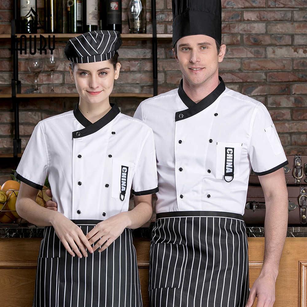 2019 куртка шеф-повара с короткими рукавами униформа для ресторана Лоскутная поварская рубашка еда обслуживание Кухня Мужчины Женщины повара Рабочая одежда