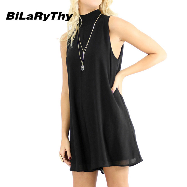 BiLaRyThy Fashion Women Summer Loose Short Jumpsuit Sleeveless Turtleneck Backless Chiffon Solid Rompers Basic Black Overall