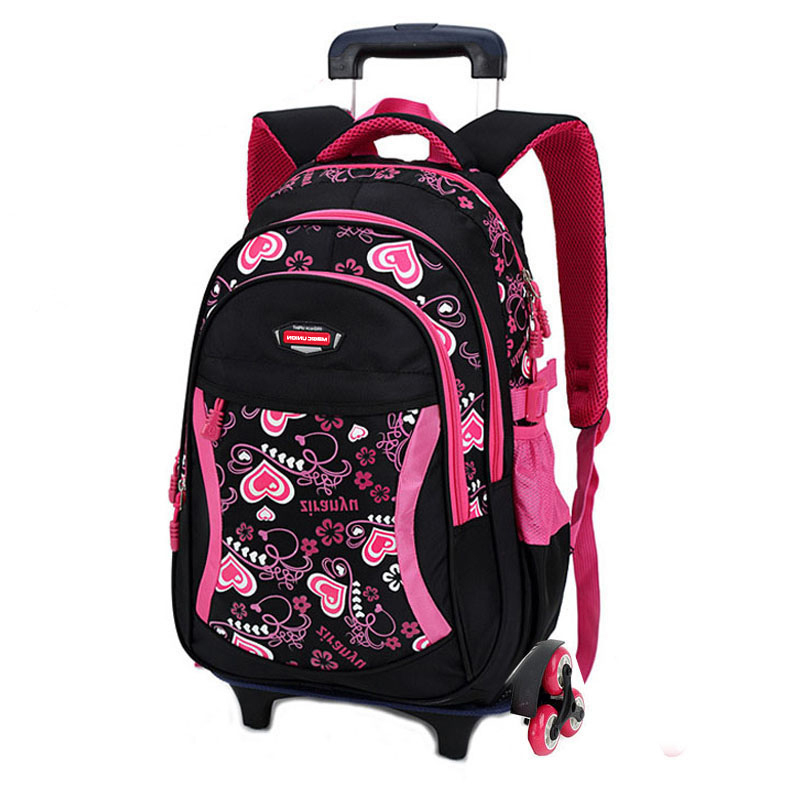 Backpack Detachable School-Bag Heart-Shaped-Pattern Triple-Wheel Girls Kids Fashion Children