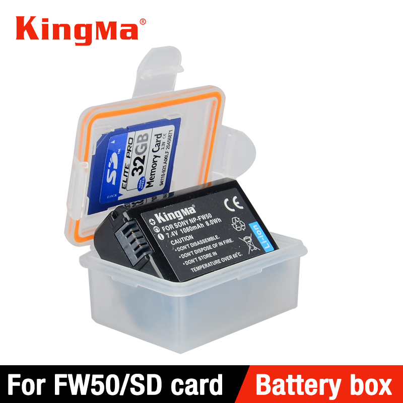 KingMa 5 PCS Plastic Case Holder Storage Box for sony DSLR camera battery NP-FW50 a7r2 a7m2 NEX-5T a5000 a5100 a6000 a6300 a6500 original lcd 3 inch camera tempered glass screen protector for sony a5100 a6000 a5000 a6500 a6300 hd toughened protective film