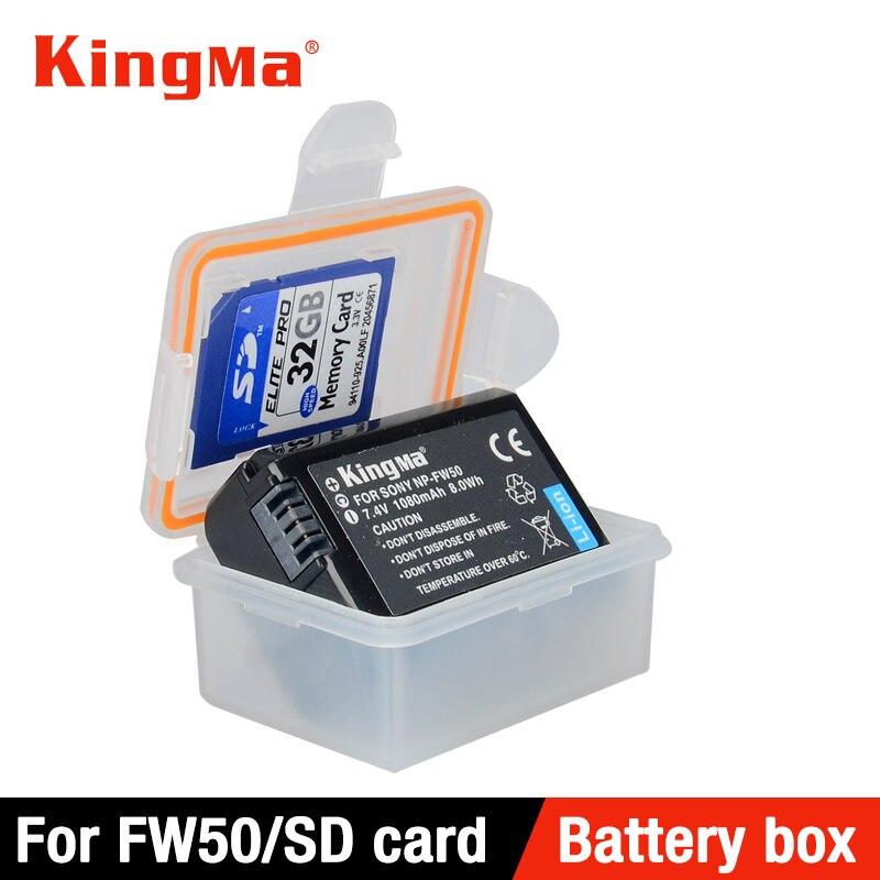 KingMa 5 piezas sostenedor del caso plástico caja de almacenamiento para sony DSLR Cámara batería NP-FW50 a7r2 a7m2 NEX-5T a5000 a5100 a6000 a6300 a6500