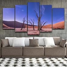Decor Living Room Modular HD Printed Pictures 5 Panel Dead Trees Desert Landscape Framed Wall Art Painting Canvas Poster Home