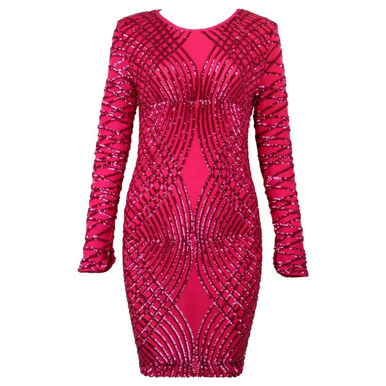 Sequin Dress 2017 New Women red Beige Wine Beading Mesh long sleeve Bandage Dress Wholesale