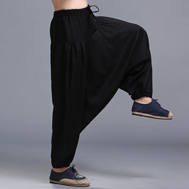 Black Harem Pants Men Linen Pants Long Wide Leg Pants Summer Loose Casual Trousers Drawstring Trousers