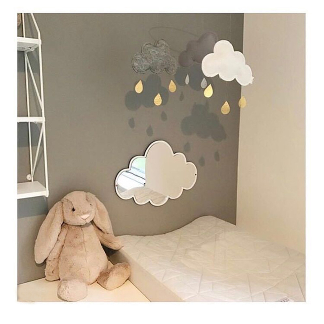 Ins Nordic Nursery Decoration Acrylic Mirror Batman Bunny Crown Heart Erfly Cloud Garden Wall Art Kid