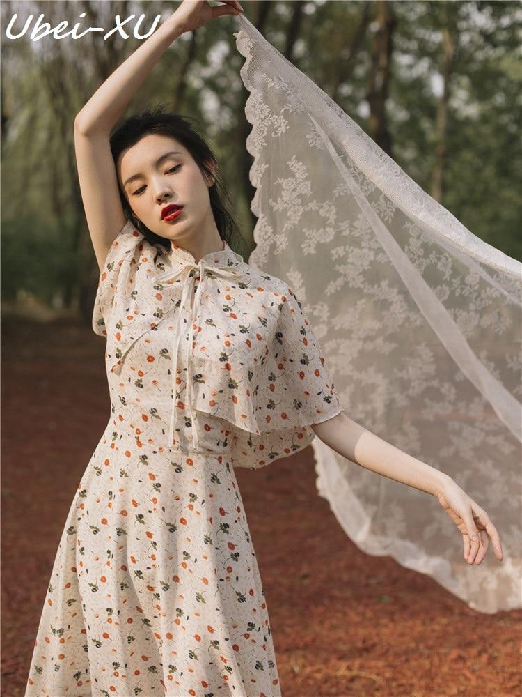Ubei 2019 Summer new cheongsam dress young girl vintage Chinese style print chiffon long with fashion cloak