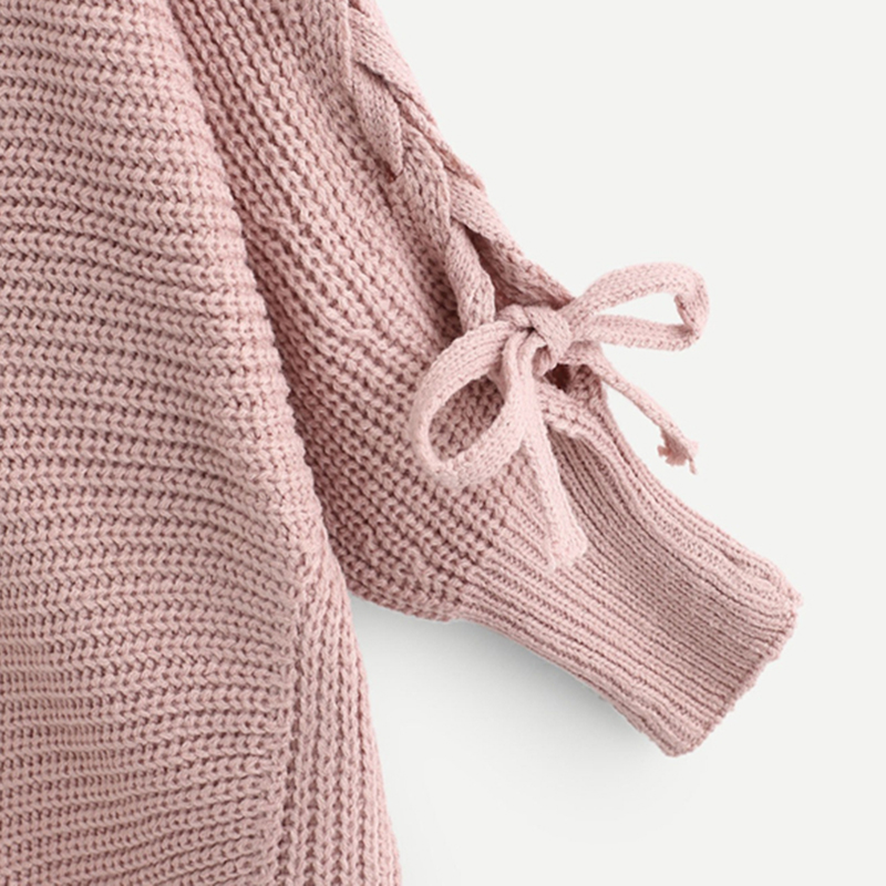 2f991c1bc7 COLROVIE Pink Solid Lace Up Long Sleeve Knitted Casual Sweater Women 2018  Streetwear Pullover Female Winter Jumper Sweaters
