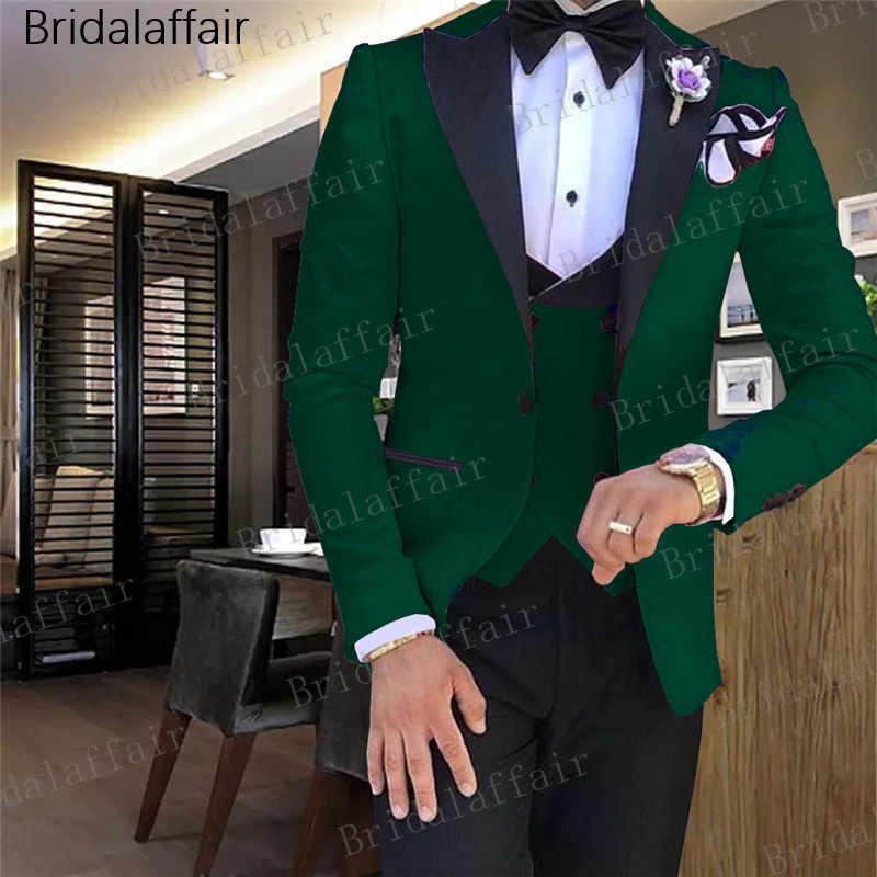 Gwenhwyfar 最新コートパンツデザイングリーンメンズスーツスリムフィット新郎タキシード 3 ピースカスタムメイドのウェディングメンズはウエディングブレザーセット