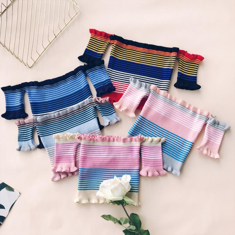 Summer Sweet Sexy Ruffles Striped Slash Neck Cropped T shirts Women Short Sleeve Knit Crop Tops For Girls in T Shirts from Women 39 s Clothing
