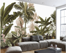 beibehang papel de parede tapety Classic fashion simple wallpaper retro nostalgic century hand painted rainforest mural TV wall
