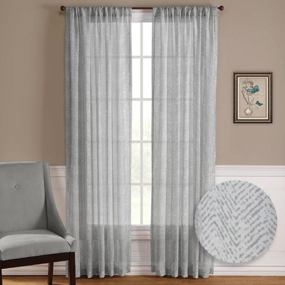Online Shop NICETOWN One Pair Zig Zag Chevron Pattern Sheer Window Curtains  / Drapes For Living Room Window Treatment Rod Pocket | Aliexpress Mobile