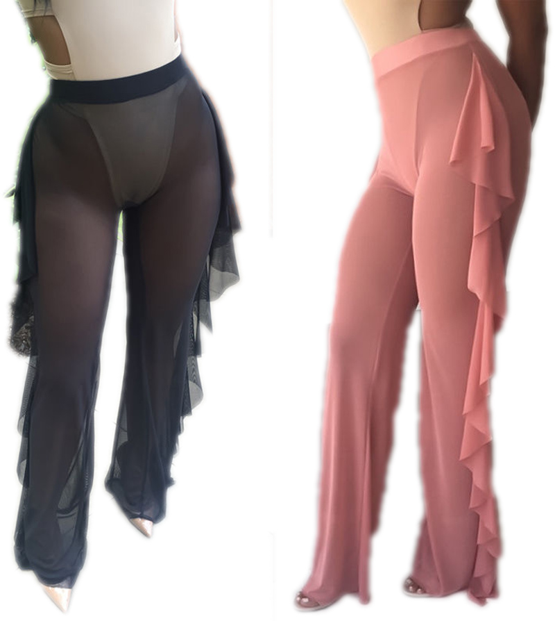 2017 Sexy Women Loose Stretch High Waist Wide Leg Long Pants Cotton Palazzo Trousers Look Through Mesh Summer Flare Pant