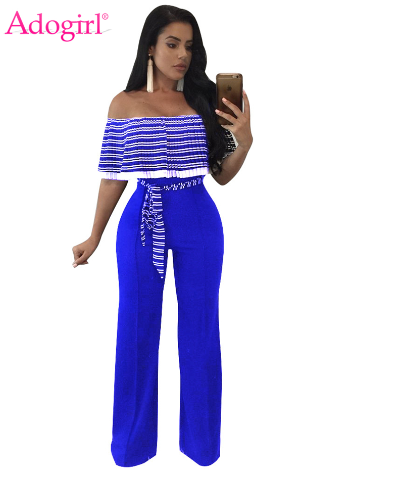 Adogirl Striped Pleated Ruffle Off Shoulder Loose Jumpsuits Plus Size Women Sexy Strapless Wide Leg Pants Casual Rompers Overall