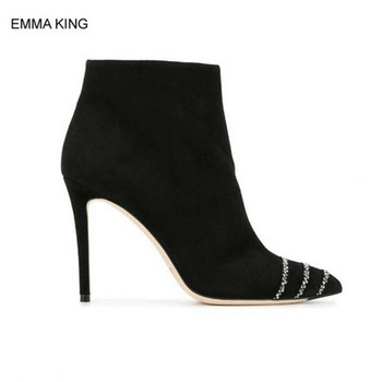 EMMA KING Ankle Boots Women Thin High Heels Pointed Toe Crystal Autumn Womens Boots Side Zipper Modern Mujer Elegant Style Black