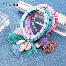 1pc Colorful Bohemia Elastic Tassel Pendant Bracelets For Women Girls Natural shell Handmade Summer Beach Jewelry