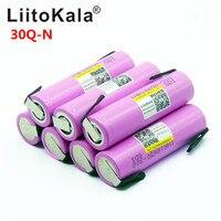 Liitokala 30Q 18650 3000mah גבוהה כוח פריקה נטענת סוללה כוח גבוהה פריקה  30A גדול הנוכחי + DIY nicke