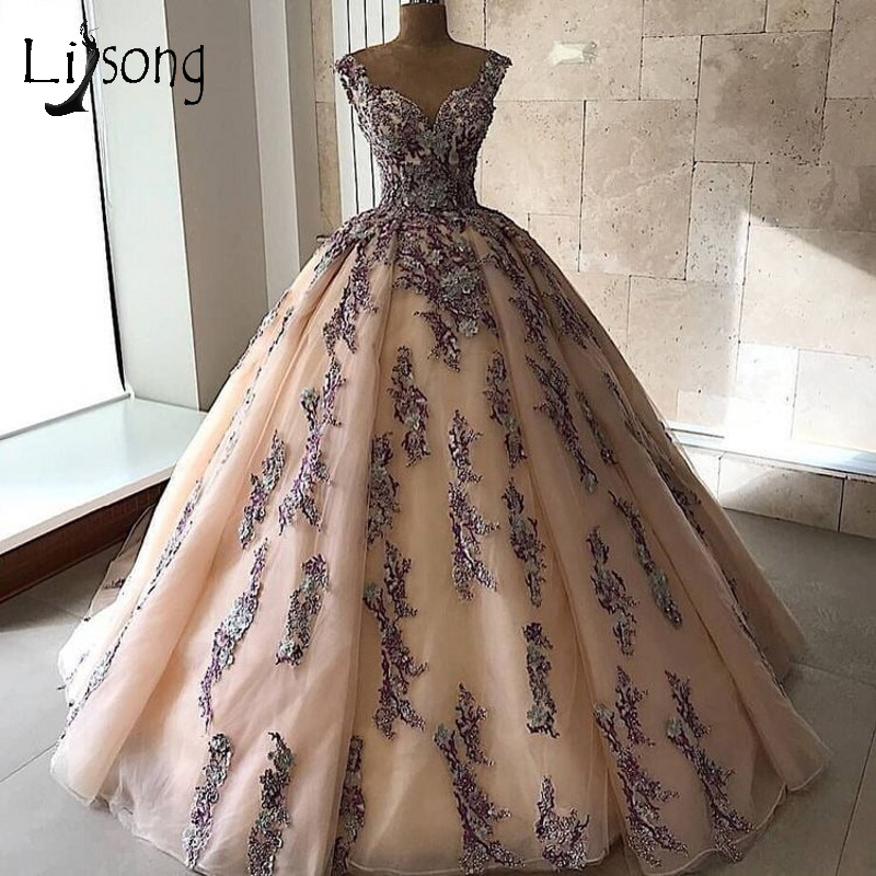 Middle East Abiye Lush Wedding Dresses 2018 Colorful Appliques Lace Bridal Dress Champagne Ball Gowns Lace
