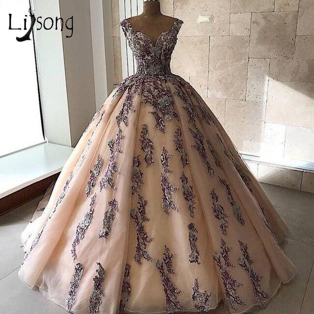 Middle East Abiye Lush Wedding Dresses 2018 Colorful Appliques Lace Bridal  Dress Champagne Ball Gowns Lace Up Vestidos De Noiva e5dbb89cebf7