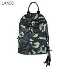 Lanso женская обувь на застежке-молнии модные рюкзак Оксфорд школьного рюкзака, сумки для подростков Камуфляж Повседневная Стиль рюкзаки