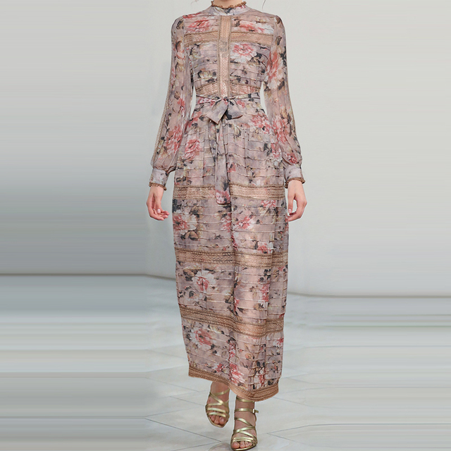 Qian Han Zi newest Designer fashion Runway Maxi dress Women's Lantern Sleeve Print Patchwork Lace Slim Party Vintage long dress
