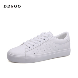 2018 Shoes Woman Summer New Fashion Women Shoes Casual Platform Solid PU Leather Shoe Women Casual White Shoes Sneakers 3