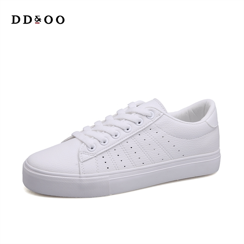 Image 5 - Women Sneakers Leather Shoes 2020 Spring Trend Casual Flats Sneakers Female New Fashion Comfort Lace up Vulcanized Shoeswinter fashionwinter winterwinter white -