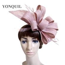 Большие искусственные головные уборы sinamay, украшенные перьями и цветами, вечерние головные уборы, свадебные аксессуары для волос, свадебные шляпы, Коктейльные шляпы, Новое поступление