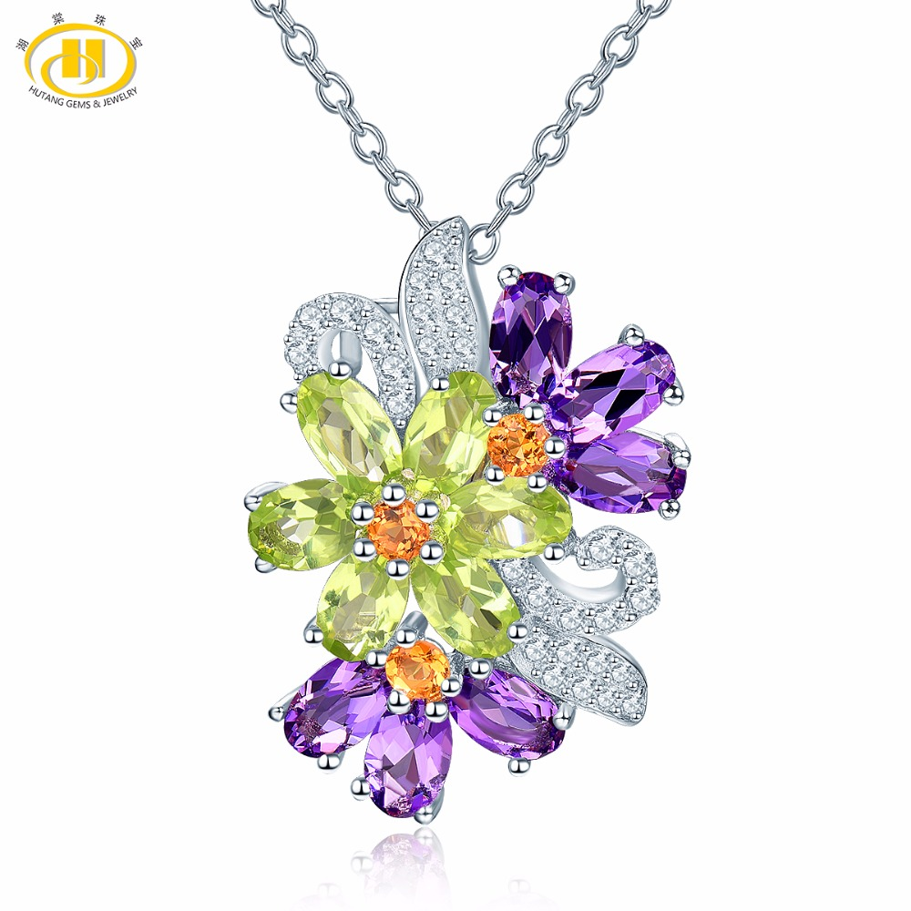 Hutang Stone Jewelry Natural Gemstone Amethyst Peridot Solid 925 Sterling Silver Pendant Necklace Fine Fashion Gemstone Jewelry hutang stone jewelry 8 83 ct natural amethyst gemstone solid 925 sterling silver bracelets for women fine fashion jewelry 7 25