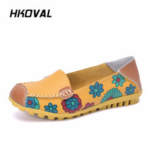 HKOVAL Women Shoes Sneaker Genuine Leather Moccasins Ladies Female Driving Ballet Casual Mother Loafers Flats Footwear shoes women 2017 new women genuine leather flats casual female moccasins spring summer lady loafers women driving shoes