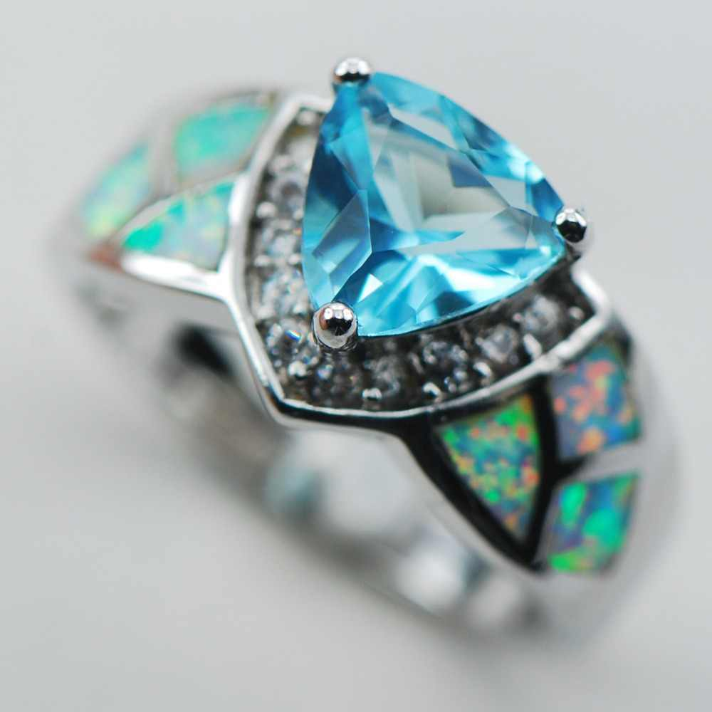 Simulated Aquamarine White Opal 925 Sterling Silver Ring Kích Thước 6 7 8 9 10 R1325