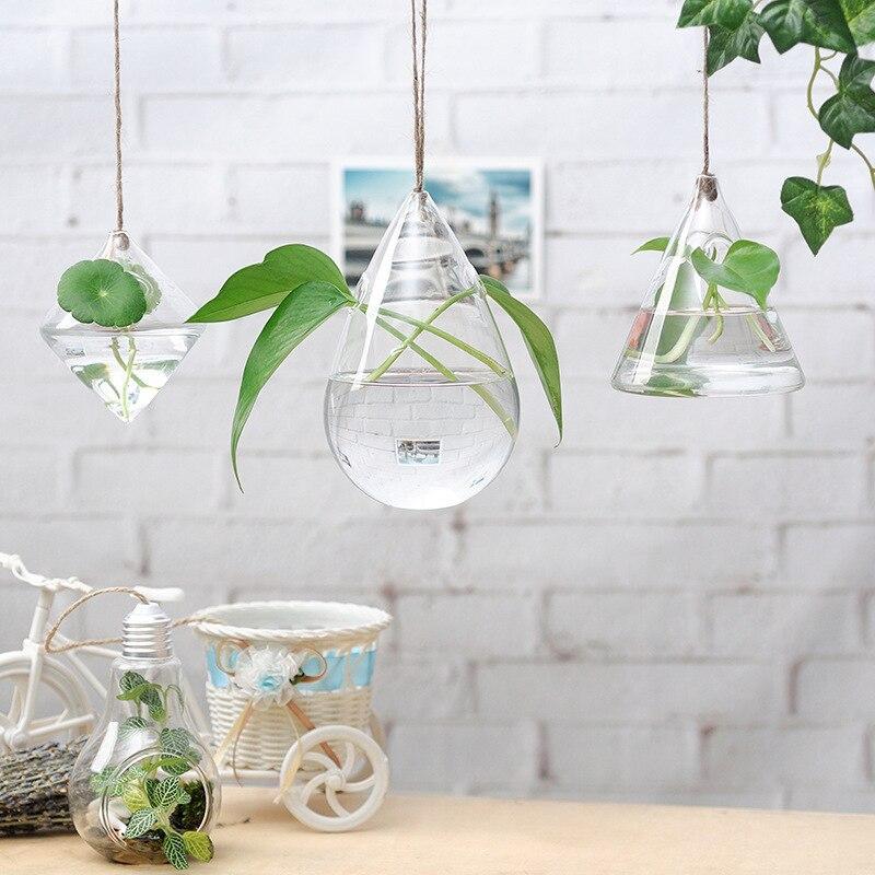 Творческий Красота дома Гостиная Ясно ромб Стекло горшок мини висит цветочные воды завод ваза