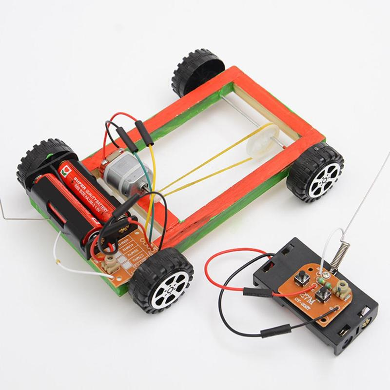Wooden DIY Electric Pulley Four Wheel Drive Car Assembly Model Kit Kids Toy