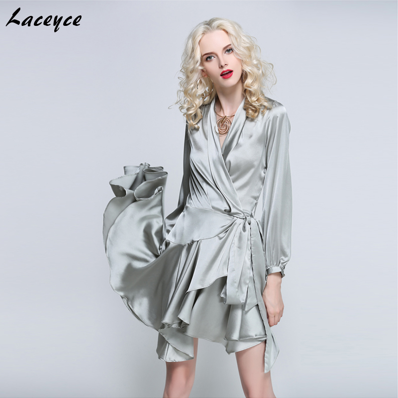Laceyce 2018 New Fashion Summer Women Runway Dress Gray Pink Orange V Neck Asymmetrical Mini Dress Evening Party Dresses