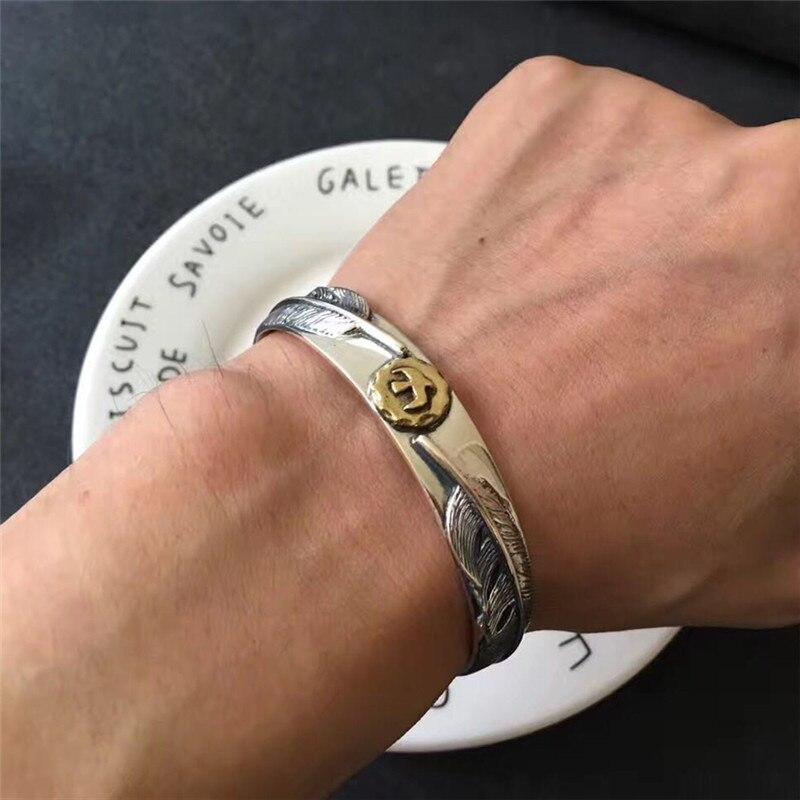 Solide en argent Sterling 925 plume manchette Bracelet et Bracelet hommes femmes Vintage Style indien haut à la mode argent 925 hommes bijoux cadeau-in Bracelets from Bijoux et Accessoires    1