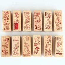 Garden Wood seal European retro wooden stamp postmark English alphabet DIY hand seal   diy crafts for kids
