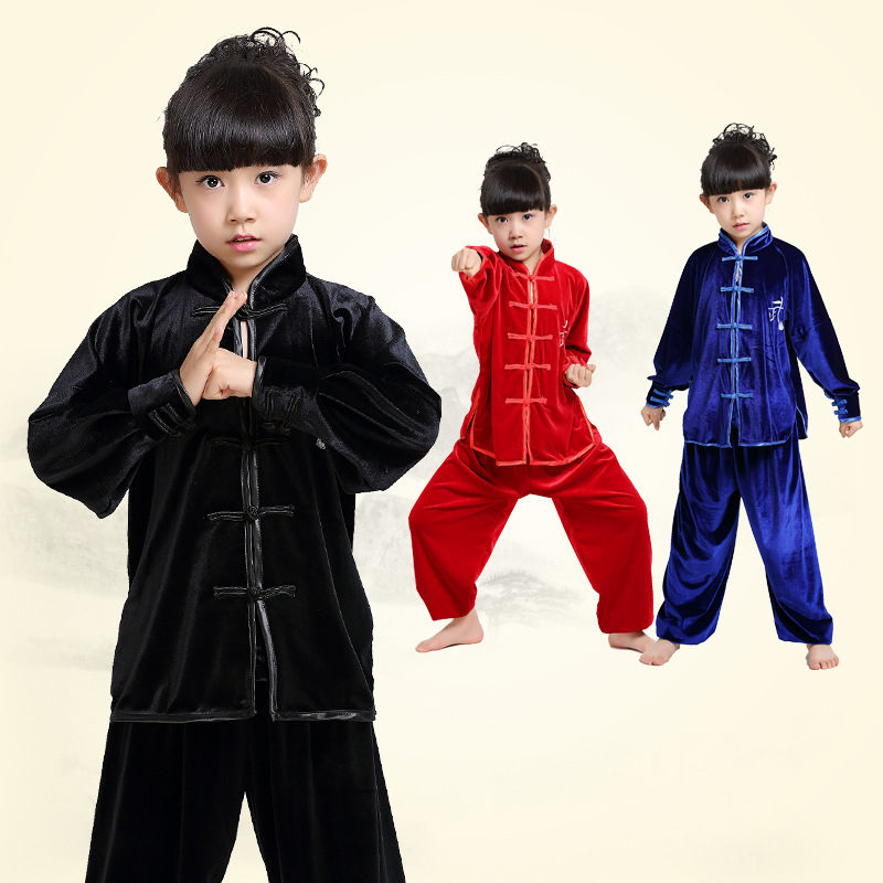 Competent Kinderen Jongen Meisje Fluwelen Dikke Chinese Traditionele Wushu Kostuum Kimono Kleding Kung Fu Pak Tai Chi Martial Art Uniform Glanzend Oppervlak