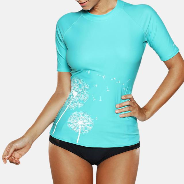Women's Short Sleeve Floral Printed Swimwear