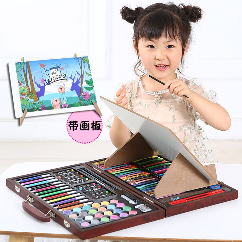 120pcs School Painting Gift Box Fashion Graffiti Paint Brush Set Creative Children Daily Entertainment Toy Art Sets With Easel