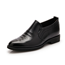 Classic males's gown formal oxford marriage ceremony footwear 2017 Height Increasing footwear males pointy slip on wing tip flats footwear 36-42