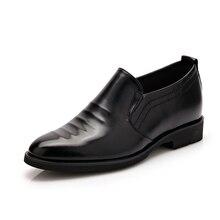 Классические мужские платья формальные Оксфорд свадебные туфли 2017 обувь, увеличивающая рост мужчины острые без шнуровки Wing Tip квартиры обувь 36-42