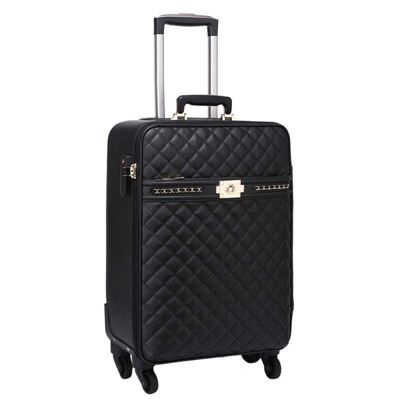 LeTrend Retro Rolling Luggage Spinner Women Password Trolley Men Suitcase Wheels 16 inch PU Leather Women