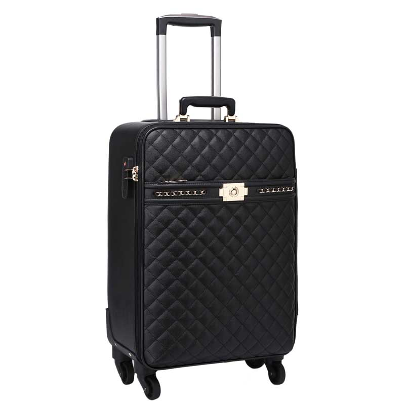 LeTrend Retro Rolling Luggage Spinner Women Password Trolley Men Suitcase Wheels 16 Inch PU Leather Women Cabin Travel Bag Trunk