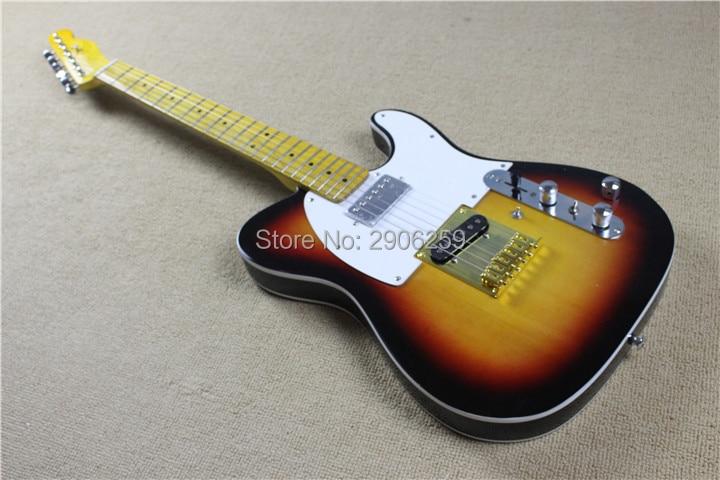 Magasin sur mesure Andy tele guitare électrique. humberckers H-H, interrupteur boost + interrupteur simple coupe. électronique active. Vintage couleur sunburst