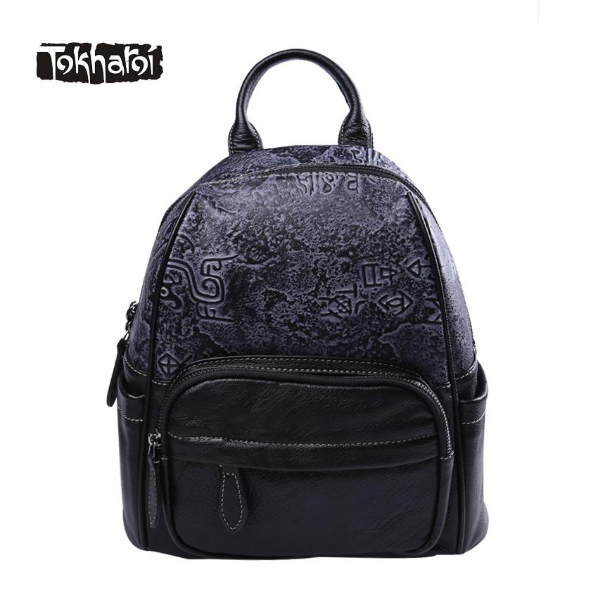 Tokharoi Brand Genuine Leather Women Backpack Vintage Style Appliques Landscape Map Shoulder Bag Three Zipper Pocket for Women